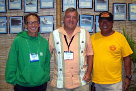 Orlando, Florida Surf Expo with directors and chairman, l. to r., Peter Pan, Bruce Gabrielson, Kali Montero